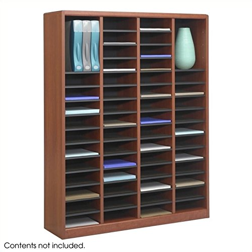 Scranton & Co 60 Compartments Wood Literature Organizer in Cherry by Scranton & Co