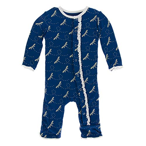 (Kickee Pants Little Girls Print Muffin Ruffle Coverall Snaps - Navy Dragonfly, 3-6 Months)