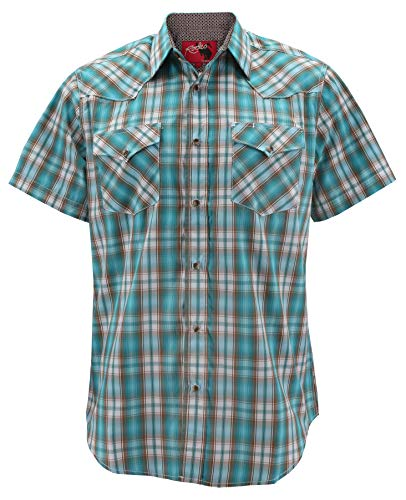 Rodeo Clothing Men's Western Cowboy Pearl Snap Button Short Sleeve Plaid Shirt (#446, L)