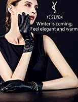 YISEVEN Women's Touchscreen Lambskin Leather Gloves Long Cuff Chain