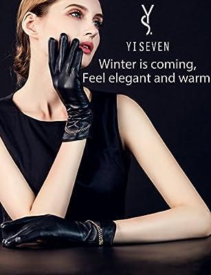 YISEVEN Women's Touchscreen Lambskin Leather Gloves Long Cuff Chain