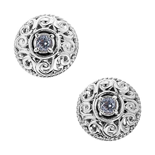 Carolyn Pollack Genuine .925 Sterling Silver White Topaz Birthstone Button Earrings by Carolyn Pollack