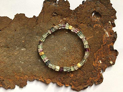 Fluorit W/ürfel Armband mit Goldelementen