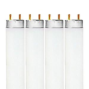 Luxrite F32T8/765 32W 48 Inch T8 Fluorescent Tube Light Bulb, 6500K Daylight White, 2650 Lumens, G13 Medium Bi-Pin Base, LR20735, 4-Pack