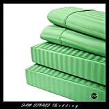 Luxurious 100% Egyptian Cotton 600TC King Size Unattached Waterbed Sheet Set Stripe Sage