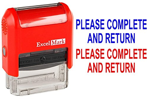 Please Complete and Return - ExcelMark Self-Inking Two-Color Rubber Teacher Stamp - Perfect for Grading Homework - Red and Blue Ink