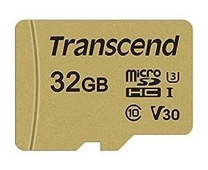 Transcend USD500S - Tarjeta microSD de 32 GB, microSDHC Clase 10 UHS-I U3, V30, con chip MLC, Lectura hasta 95 MB/s