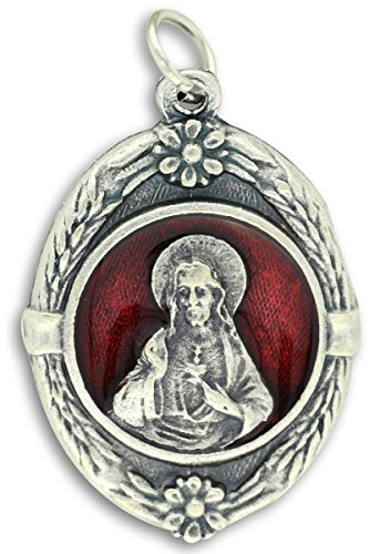 Lot of 3 - Rare Vintage Large Red Enamel Sacred Heart Medal 1-1/8 Inch Jesus Medals Rings Included