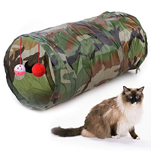 WUXIAN Cat Tunnel,Collapsible Cat Tunnel Play Toy Interactive Cat Tunnel Toy with String on Ball Play Tunnel Kitten Play Toy