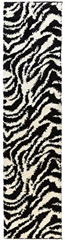 Plush Zebra Print - Well Woven Madison Shag Safari Zebra Black Animal Print Area Rug 20'' X 7'2'' Runner