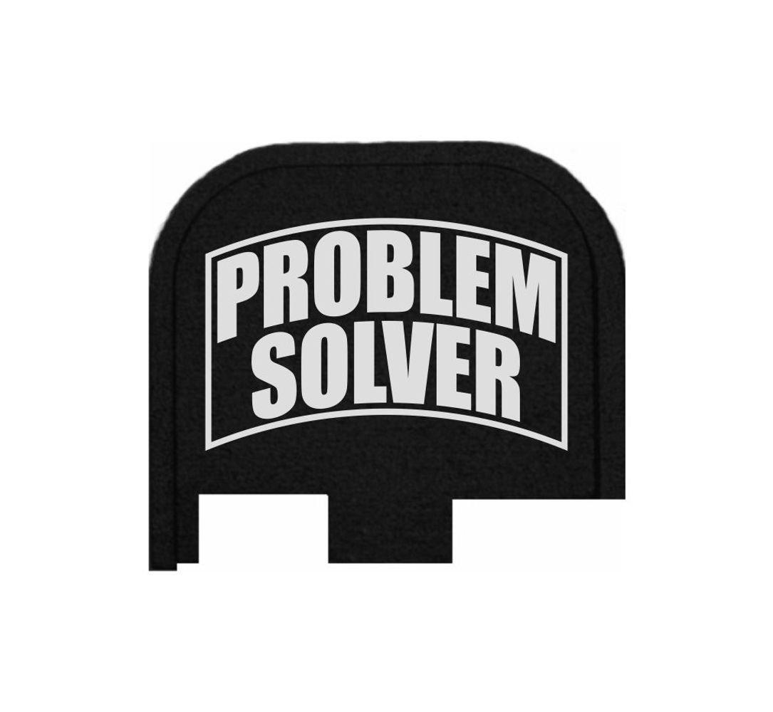 BASTION Laser Engraved Butt Plate, Rear Slide Cover Back Plate for Glock 43 9mm G43 ONLY - Problem Solver