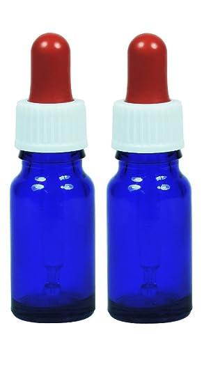 Viva-Haushaltswaren - 2 x Azul Pipeta Botella 10 ml/farmacia botellas en azul de cristal con pipeta, fabricado en Alemania - Incluye 2 etiquetas etiquetas: ...