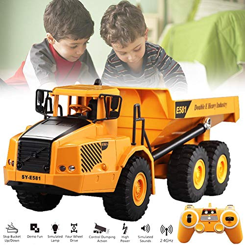 total-shop rc Trucks Toy Car Model - Remote Control Articulated Dump Large Truck Transportation Model Car Engineering Large Truck Tipping Bucket Car