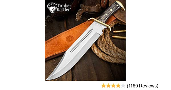 Timber Rattler Western Outlaw Full Tang Bowie Knife with Leather Sheath -Brass Plated Guard, Hardwood Handle - 11 3/8