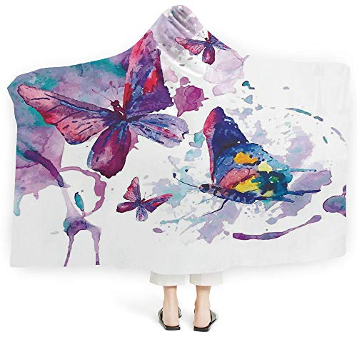 Blanket Adults Cabin Decor Plush Wearable Hooded Blanket Patchwork Style Different Patterns Squares Spring Flora Hobby Craft Theme Print Decorative (Adults 60