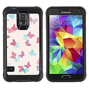 """único patrón Impacto Shock-Absorción y Anti-Arañazos Funda Carcasa Case Bumper Para Samsung Galaxy S5 V , ( Elefante Dibujo Indio Blanco Africano"""" )"""