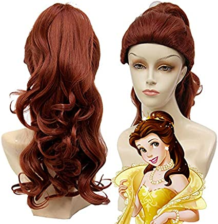 La bella y la bestia Bella larga y ondulada peluca de cola de ...