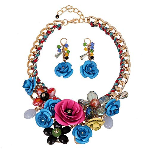 HoBST Floral Flower Statement Necklace and Earring Set Choker Chunky Gold Plated Chain Pendant Jewelry (Blue Pink)