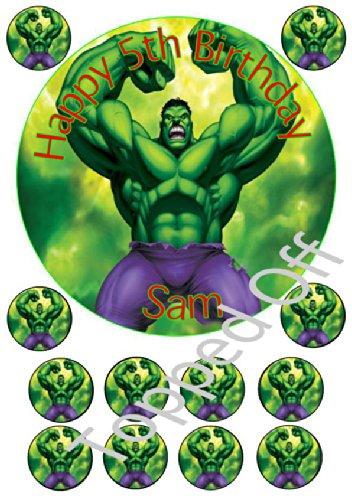 Hulk 1 x 75 12 x 15 round fondant icing edible cake topper