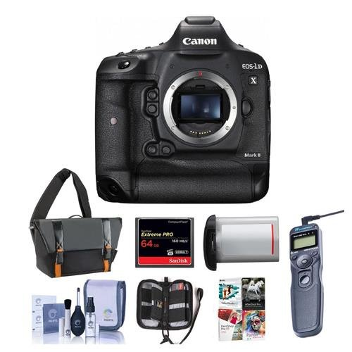 Canon EOS-1DX Mark II Digital SLR Camera - Bundle with 64GB Compact Flash Card, Camera Bag, LP-E19 Battery, Remote Shutter Trigger, Cleaning KIt, Memory Wallet, PC Software - Digital Battery Camera D1x