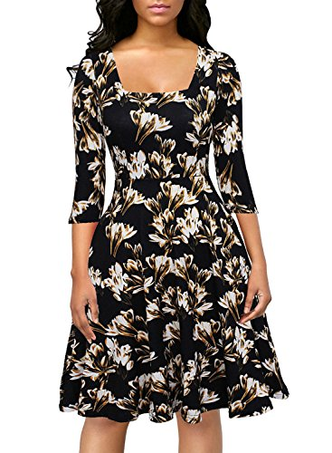 Berydress Womens Vintage Chic 3/4 Sleeve Square Neck Flattering A-Line Midi Floral Printe Swing Party Dress with Pockets