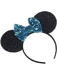 Sequins Bowknot Mickey Mouse Ear Headband Headwear for...