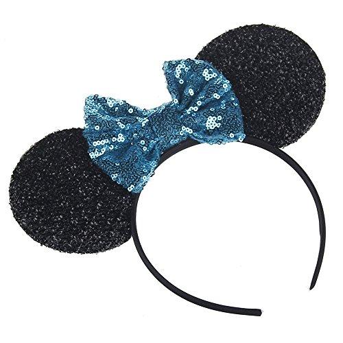 Kewl Fashion Sequins Bowknot Mickey Mouse Ear Headband Headwear for Travel Festivals (Light Blue)