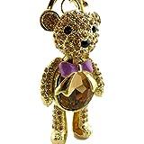 Sweet Home Gift Large Crystal Ball Diamond Bear Keyring Cars Key Chain Women/ Girls Bag Charms