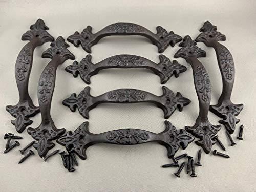 BI01DT033-MDB_8 - Large Fancy Antique (Barn/Gate/Drawer) Pull Handle - Screws Included (Matte Dark Brown, Set of 8pcs) (Furniture Cast Iron Old Garden)