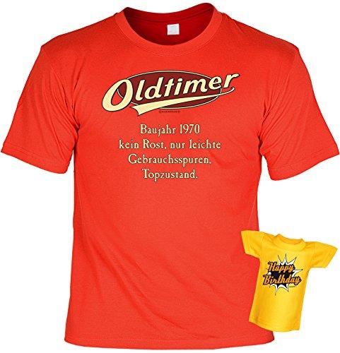 Modisches Herren Fun-T-Shirt als ideale Geschenkeidee im Set zum 46. Geburtstag + Mini Tshirt Jahrgang 1971 Farbe: rot