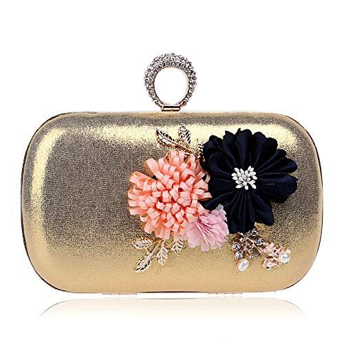 Simple Dinner Shoulder Clutch Flower Bag Evening GROSSARTIG Single Handmade Bag Messenger Gold Dress Bag gYqvwf17H