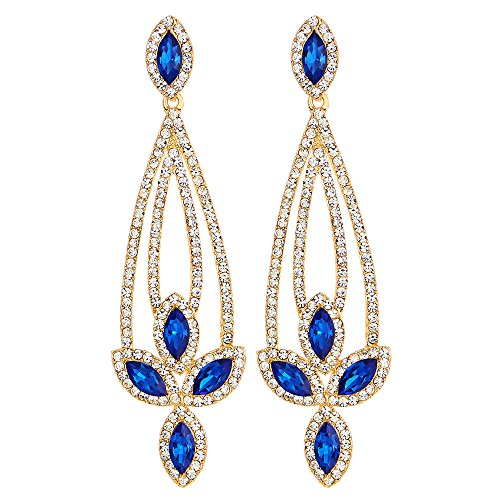 Party Prom Banquet Rhinestone Blue Crystal Chandelier Floral Long Dangle Statement Earrings (Crystal Floral Chandelier)