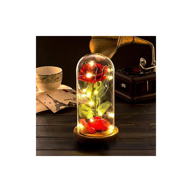 silk flower arrangements lemonbest red silk rose kit led light with fallen petals in glass dome on wooden base with usb cable gift for home decor holiday party wedding anniversary valentine's day