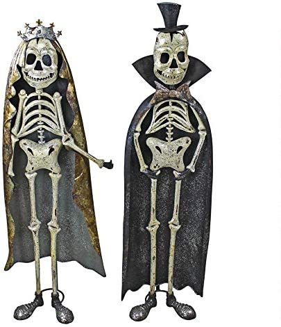 Día de los muertos Estatua de esqueleto de rey y reina de metal ...