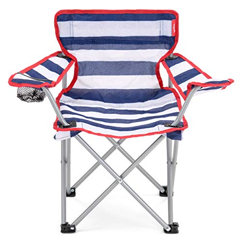 Yello Kid's Folding Beach Chair Camping, Blue/White Stripe, 35 x 58 x 53 cm