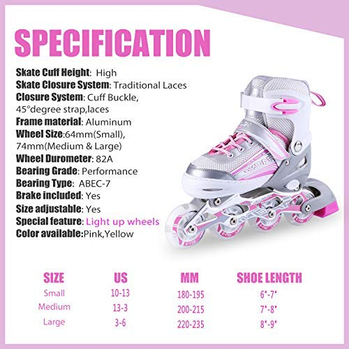 Kuxuan Saya Inline Skates Adjustable for Kids,Girls Rollerblades with All Wheels Light up,Fun Illuminating for Girls and Ladies - Small by Kuxuan (Image #4)