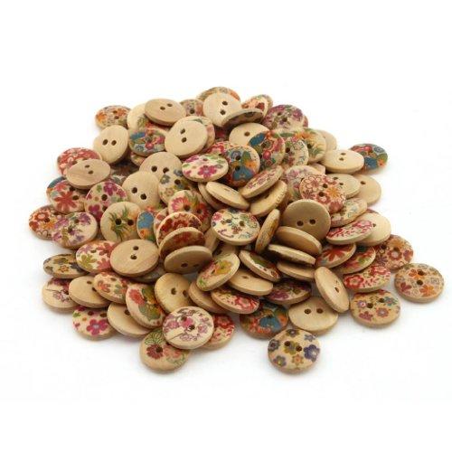 YARUIE 2 Löcher 150 Stück Verschiedene Muster rund Holzknöpfe