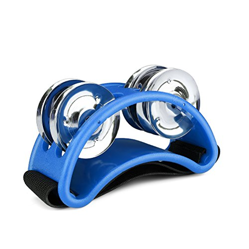 Flexzion Foot Tambourine Percussion with Double Row Steel Jingles – Foot Shaker Musical Instrument Drum for Kids KTV Party Shoes Toy Gift Singer Vocalists Cajon & Guitar Players (Blue)