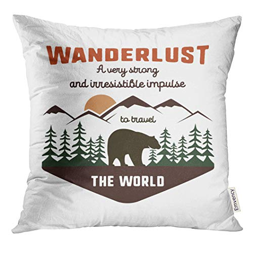 Label Pillow Bed Pillows - VANMI Throw Pillow Cover Vintage Adventure Label Definition of Wanderlust Sign and Outdoor Activity Symbols Mountains Forest Bear Decorative Pillow Case Home Decor Square 18x18 Inches Pillowcase