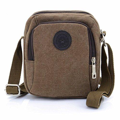 U-TIMES Small Canvas Messenger Bag Travel Organizer School Work Over Shoulder Crossbody Pouch(Coffee-01)