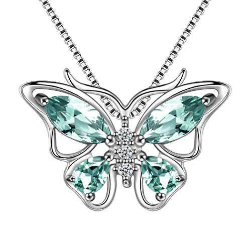 (Aurora Tears Green Crystal Butterfly Pendant Necklace 18