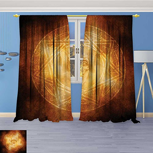 Vanfan Kids Room Planets Curtains (2 Panels),mDem Trap Symbol Logo Ceremy Creepy Ritual ntasy Paranormal Thermal Insulated Blackout Curtains with Star Prints, 72W x 108L Inch by Vanfan
