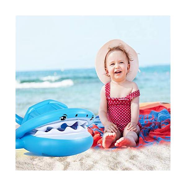 Flyboo Piscina Salvagente per Bambini Squalo Cavalcabile Gonfiabile con Tettuccio Mare Gonfiabile Ciambella per età 6-36… 6 spesavip