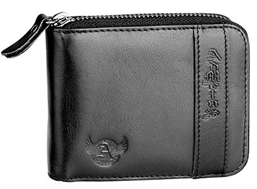 Admetus Men's Genuine Leather Short Zip-around Bifold Wallet (Black10258)