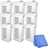 Sterilite 12228003 Ultra Wheeled Hamper, White Lid & Base w/ Titanium Handle & Wheels, 9-Pack with Cleaner Cloth