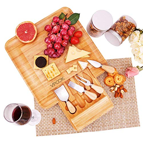 VPCOK Bamboo Cheese Board with Knife Set Housewarming Gifts Anniversary Gifts Wedding Gifts for the Couple Mother's Day Gifts Bridal Shower Gifts ()