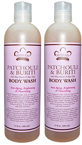 Nubian Patchouli and Buriti Body Wash (Pack of 2) With Patchouli Oil, Cupuacu Seed Butter, Rosehip and Green Tea Extract, 13 fl. oz. Each