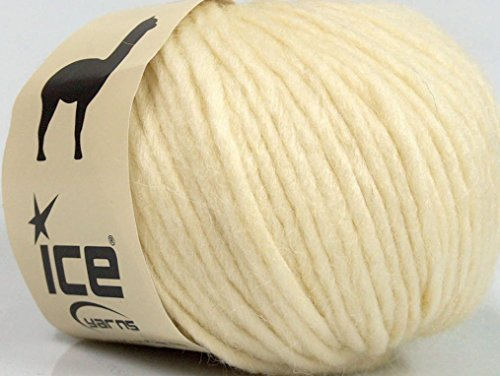 (Lot of 8 Skeins Ice Yarns PERU ALPACA SUPERBULKY (25% Alpaca 50% Merino Wool) Yarn Cream)