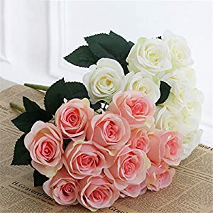 XGM GOU Rose Artificial Roses Wedding Flower Decoration Mariage Fake Silk Rose Real Touch Flower Bridal Bouquet Home Party Decor 12 Head 25
