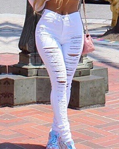 Strappati Vita Pantaloni Donna Stretch Bianco Curvy Skinny Alta Strappato Denim Jeans xFPUnI